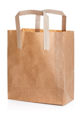 Recycled brown paper shopping bag