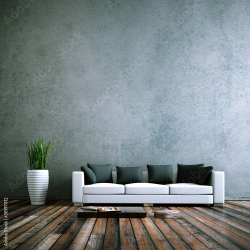 Leinwanddruck Bild Wohndesign - Sofa weiss vor Betonwand