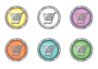 set of buttons with shopping cart icon
