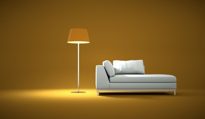 Wohndesign - weisses Sofa mit Lampe