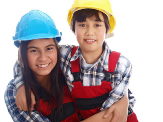 kids in construction workwear