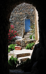 Pittoresque Garden with Blue Door in Corsica Village