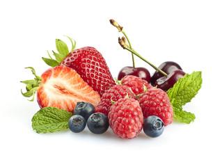Berries & Cherries with mint leaves