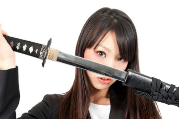 asian businesswoman with japanese sword