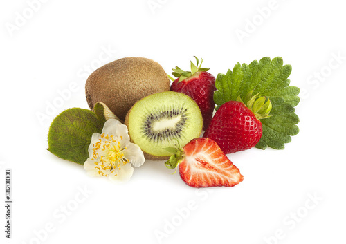 Kiwi fruit and strawberries