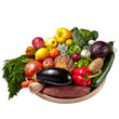 Fruit and vegetables tray - White background