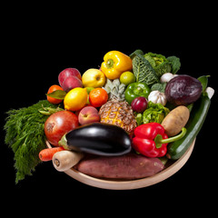 Fruit and vegetables tray - black background