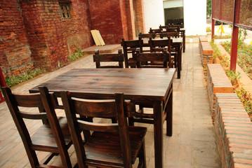 wooden chair desk outdoor