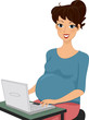 Pregnant Woman Using a Laptop