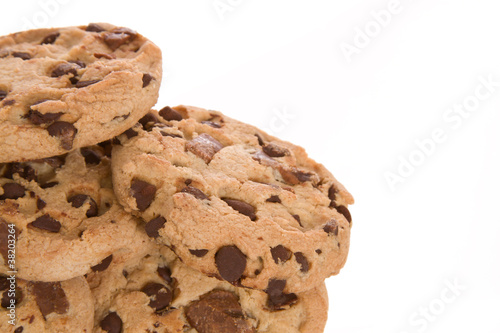 Chocolate Chip Cookies in Detail with White Background