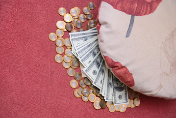 Money under a pillow