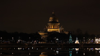 St. Isaac's Cathedral in St. Petersburg (Russia) at night