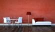 Wohndesign - Sofa mit Esstisch rot weiss