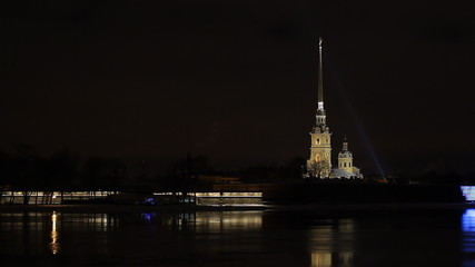Peter and Paul Fortress in St. Petersburg at night, Russia
