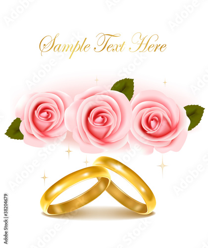 Background with wedding rings and roses bouquet.
