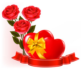 Red roses with red hearts. Vector illustration.