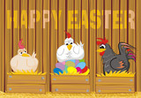 happy easter - suprised poultry and easter eggs poster