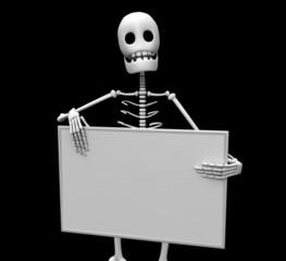 esqueleto y cartel