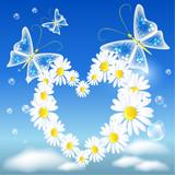 Daisy heart and butterflies poster