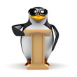 3d Penguin at the lectern