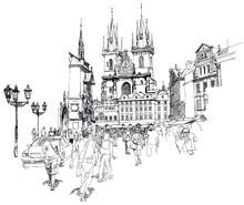 Old Town Square, Praag, Tsjechië - een vector schets