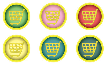 set of round shopping cart buttons