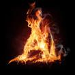 "Fire alphabet letter ""A"""