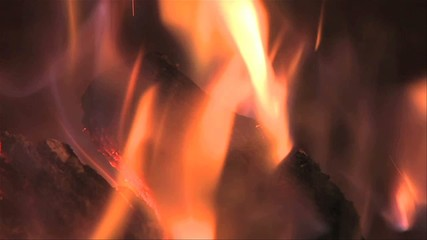 Close up of fire in fireplace slowtion