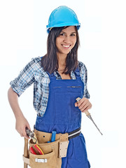 smiling female carpenter