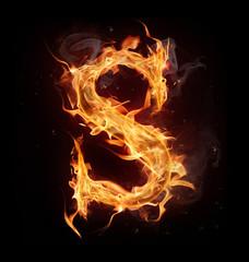 "Fire alphabet letter ""S"""