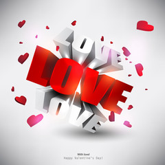 "3D word ""LOVE"" with hearts."