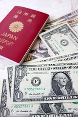 ドル紙幣とパスポート
