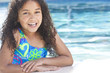 African American Interracial Girl Child In Swimming Pool