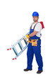 Handyman or worker carrying ladder