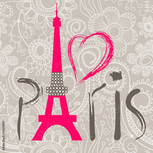 Panel Szklany Paris lettering over lace seamless pattern