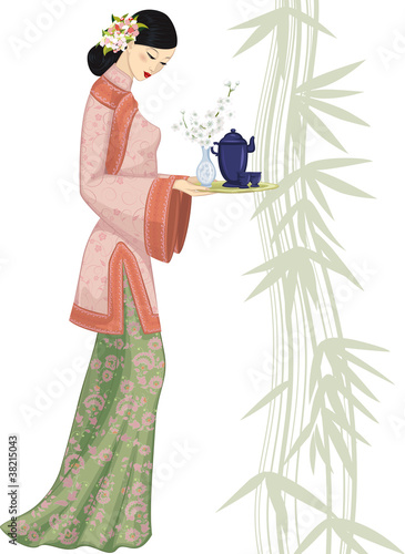 Chinese  woman holding a tray with a tea set