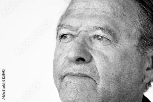 Senior man portrait in black and white