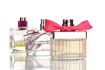 Three perfume bottle isolated on white