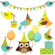 Vector set of party birds
