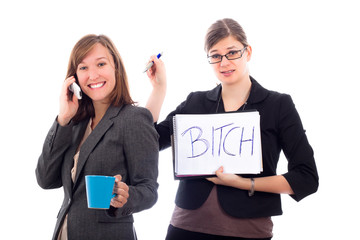 Business women colleagues competing