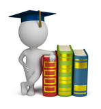 3d small people - graduate and books