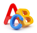 Fototapety Colorful symbols heap  of alphabet. Icon  3D.  Education concept