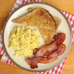 Scrambled Eggs, Bacon & Toast