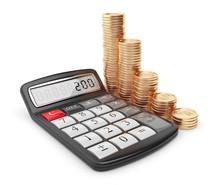 Kalkulator i monety złote. Icon 3D. Koncepcja biznesowa. Samodzielnie na