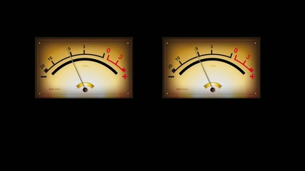 Analog stereo audio meters high quality