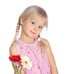 Mädchen verschenkt Blumen