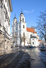 Old town street church Vilnius God speak. Religion