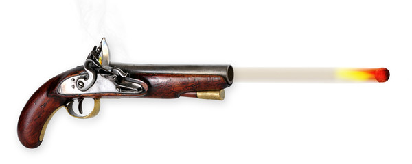 19th Century English Flintlock Pistol.