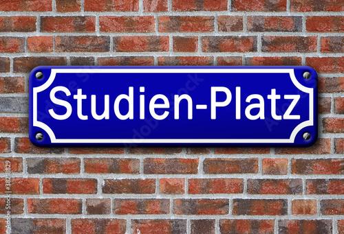 Poster Strassenschild Studien-Platz