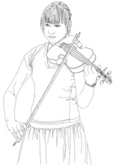 young girl plays the violin music